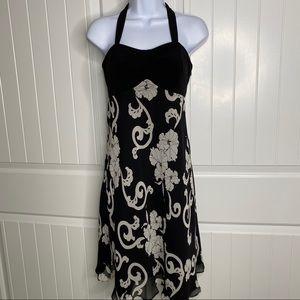 WHBM black & white halter dress size 2